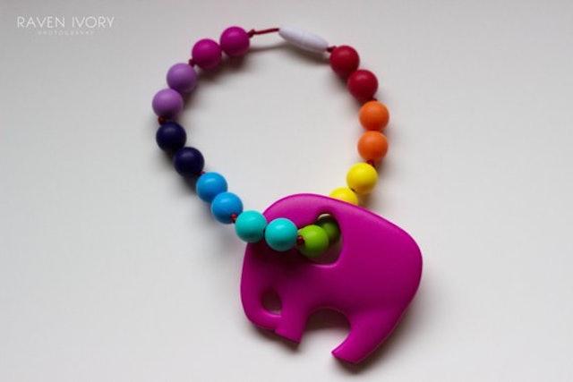 Chompy Chic Chewlery Chompy Elephant Babywearing Silicone Teething Accessory 1