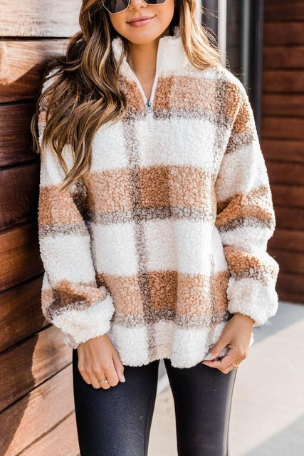Pink Lily A Round Of Applause Plaid Sherpa Pullover 1
