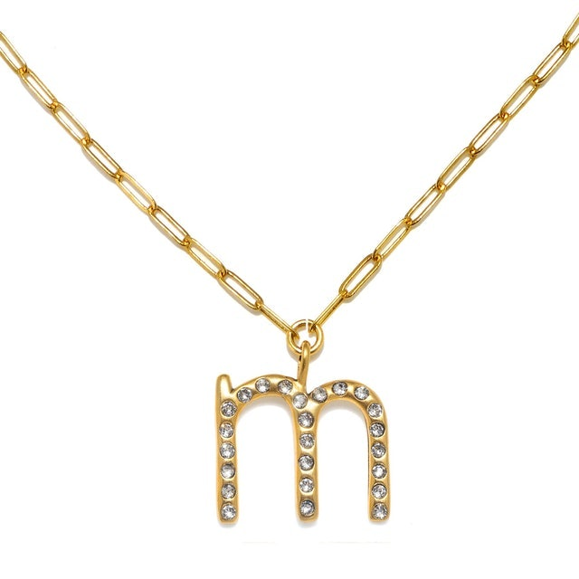 """Sequin """"M"""" Sophia Crystal Sculpted Initial Necklace 1"""