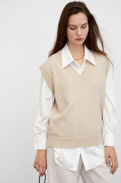 J.ING Cozy Beige Sweater Vest 1