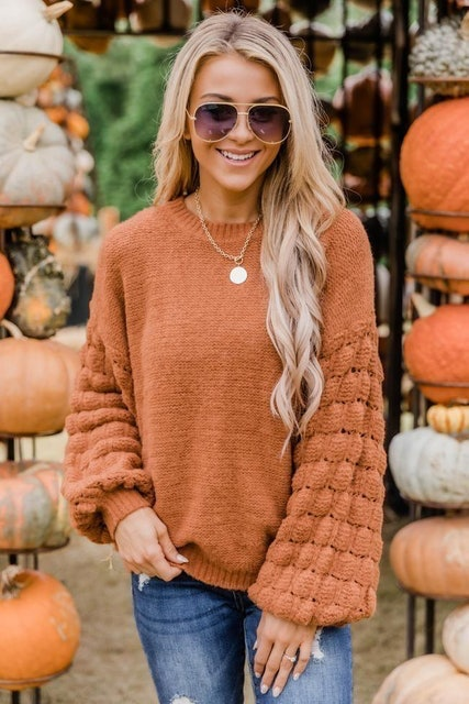 Pink Lily She's The Center Of Attention Rust Sweater 1