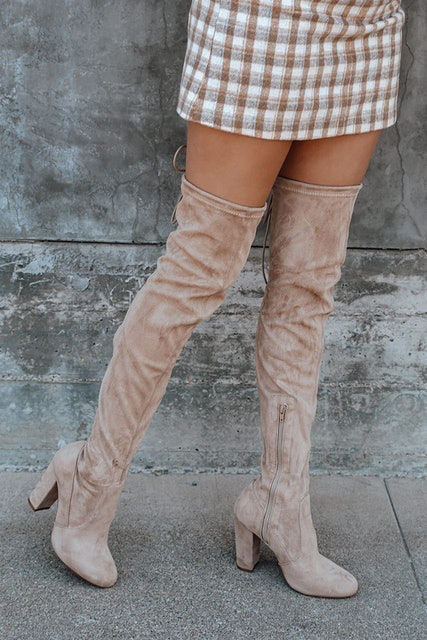 Lulus So Much Yes Light Nude Suede Over the Knee Boots 1
