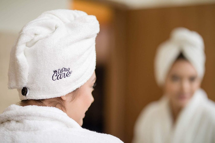 Look for Loops and Buttons to Keep Your Hair Towel in Place