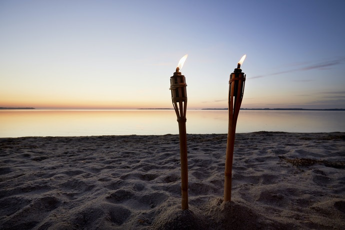 Standard Tiki Torches Provide Ambient Lighting Outdoors