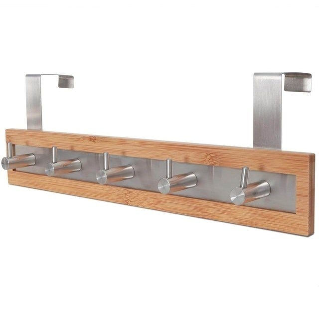 ToiletTree Products Bamboo Wood & Stainless Steel Towel Rack 1