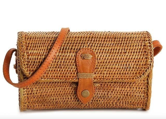 Crown Vintage Rattan Crossbody Bag 1
