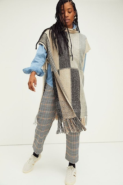 Free People Overlook Colorblock Cowl Poncho 1