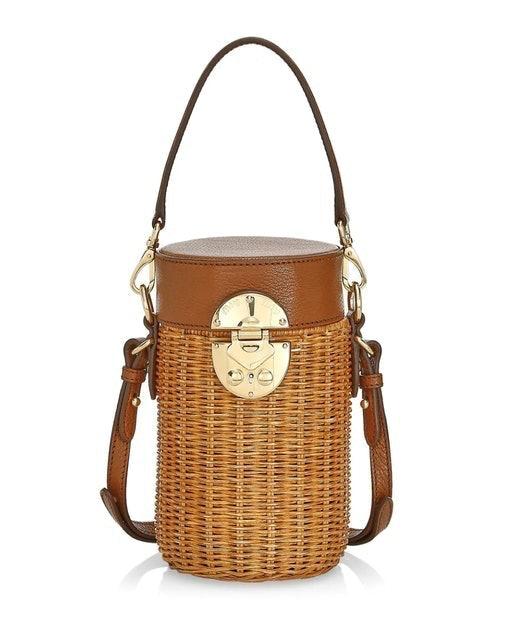 Miu Miu Midollino Mini Leather & Wicker Bucket Bag 1