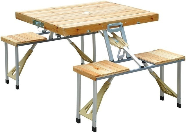 Outsunny  Foldable Camping Table With Seats  1