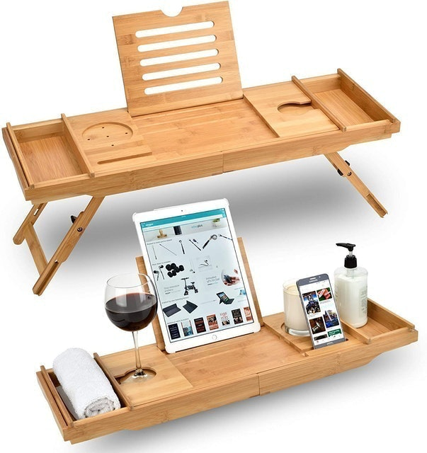 Sugarwood Home Bed Table and Bathtub Caddy 1