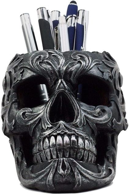 Ebros Gift Tribal Tattoo Floral Skull Figurine 1