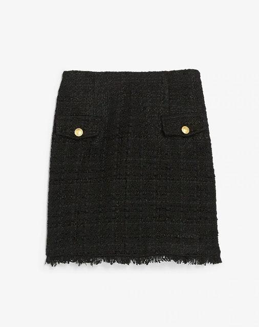 Express High Waisted A-Line Tweed Mini Skirt 1