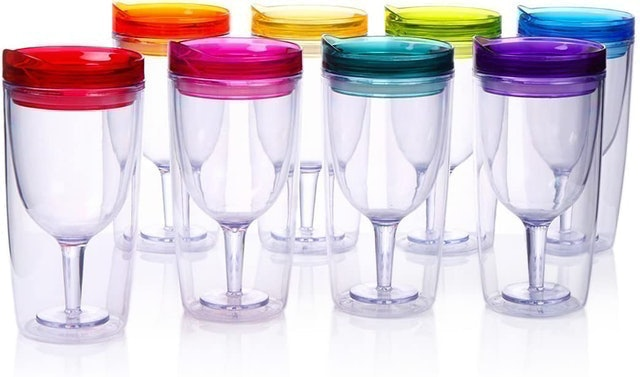Cupture Insulated Wine Tumbler Cup With Drink-Through Lid 1