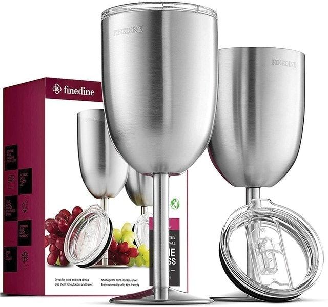 FineDine Stainless Steel Wineglasses 1
