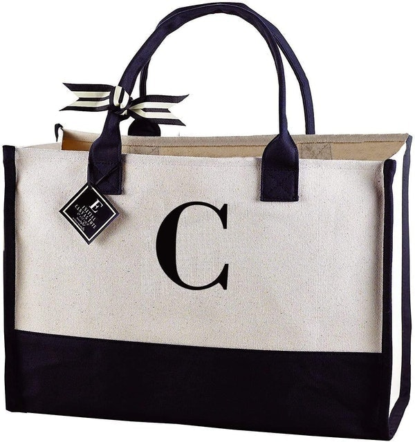 Mud Pie Classic Black and White Initial Canvas Tote Bag 1