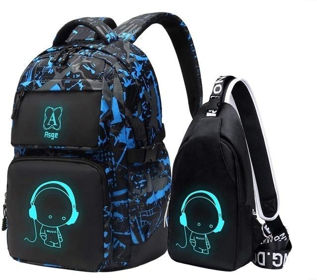 Asge Luminous Bookbag and Sling Bag Set 1