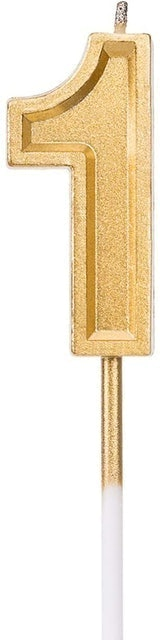 Luter Gold Glitter Number Candles 1