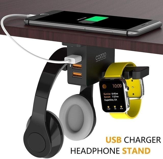 Cozoo Under Desk Headset Holder Mount With USB Charging Station 1