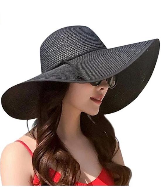 Lanzom 5.5-Inch Wide Brim Straw Hat 1