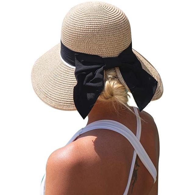 Comhats Women's Floppy Summer Sun Beach Straw Hat 1