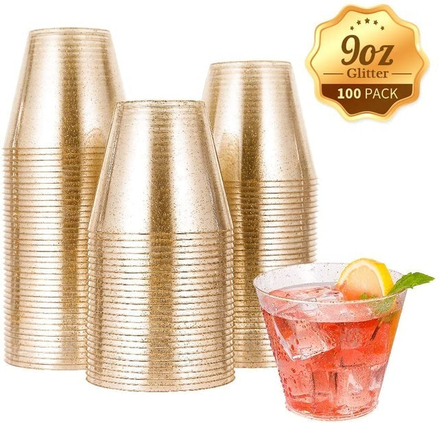 JOLLY CHEF Disposable Gold Glitter Plastic Cups 1