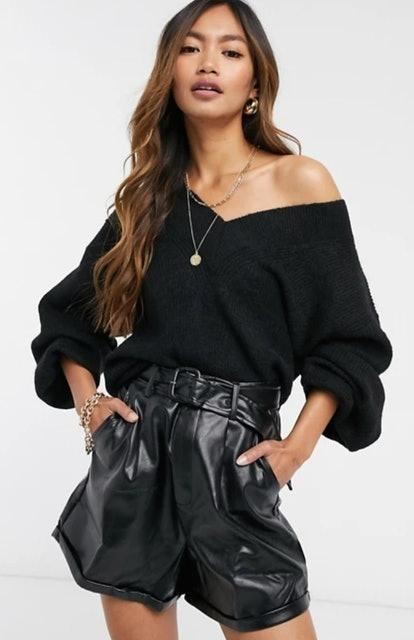ASOS Design V Neck Fluffy Sweater 1