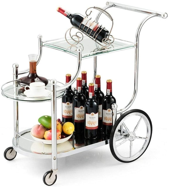 Rolling Bar Carts Tangkula Metal Serving Cart With Tempered Glass 1