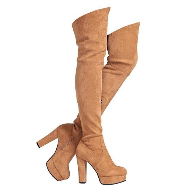 Shoe'N Tale Chunky Heel Thigh High Boots 1