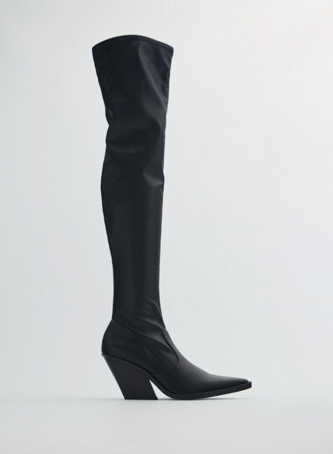 Zara Heeled Tall Cowboy Boots 1