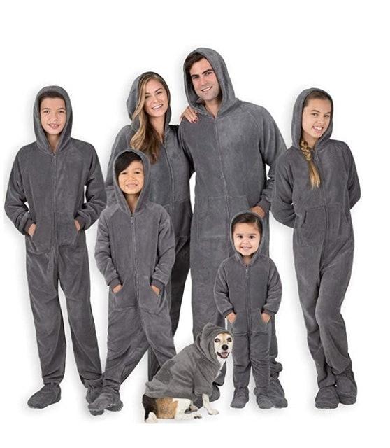 Footed Pajamas Family Matching Hoodie Onesies 1