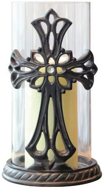 Briarwood Store Candle Holder with Bronze Metal Base and Jeweled Cross 1