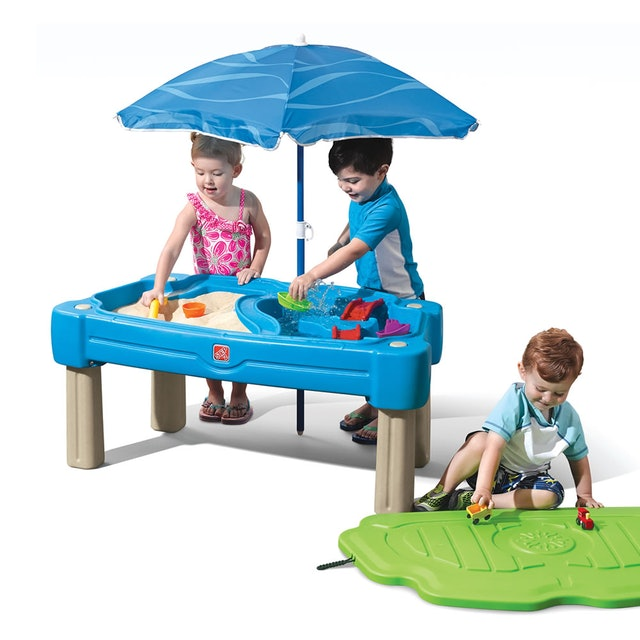 Step2 Cascading Cove Sand & Water Table With Umbrella 1