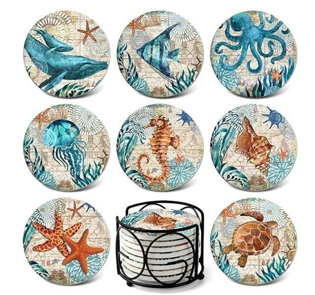 Teivio Sea Ocean Life Coasters for Drinks 1