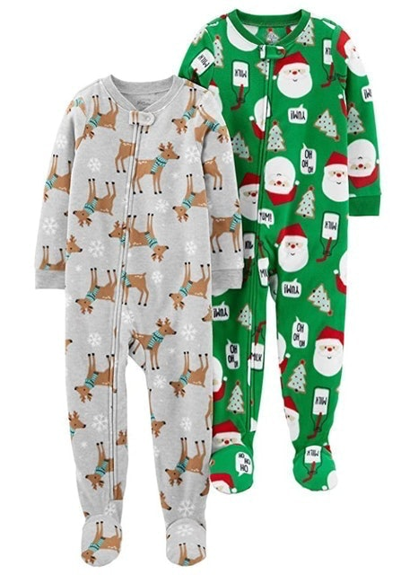 Simple Joys by Carter's Holiday Loose Fit Fleece Footed Pajamas 1