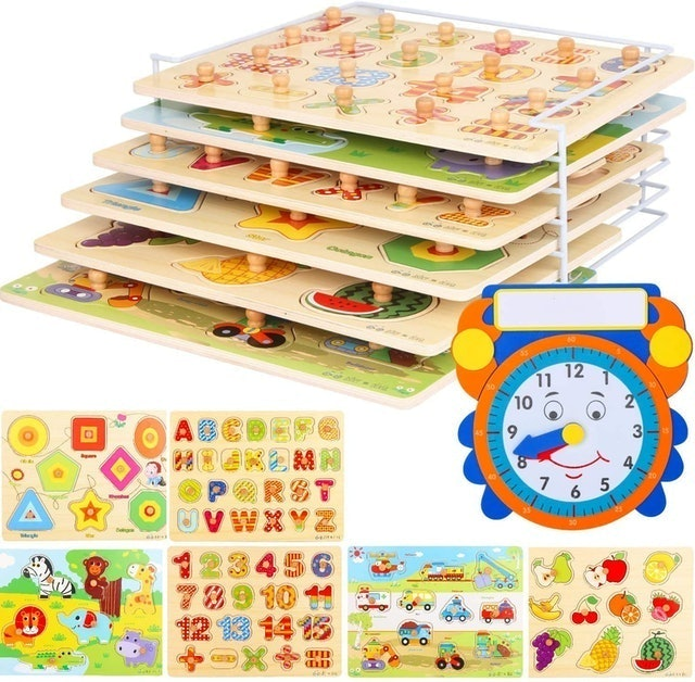 Asher and Olivia Wooden Toddler Puzzles and Rack Set 1
