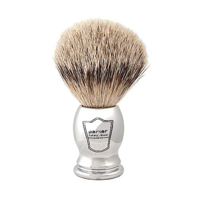 Parker Safety Razor Chrome Handle Silvertip Shave Brush 1