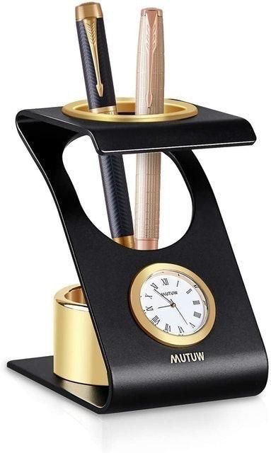 Mutuw Round Clock Pencil Holder 1