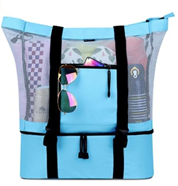Fitfort Mesh Beach Tote Bag With Detachable Beach Cooler 1