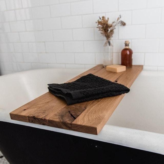 Peg and Awl Sustainable Oak Wood Bath Tray 1