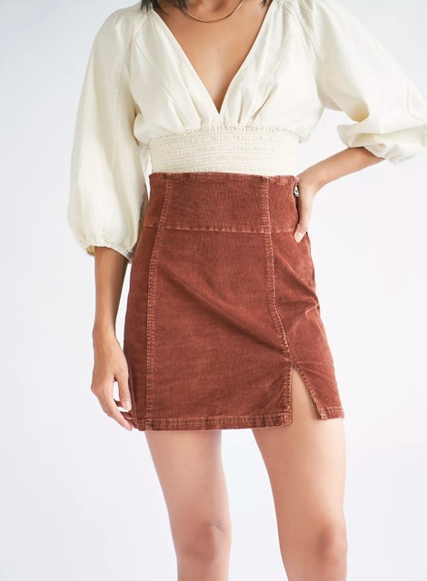 Free People Holding Onto A Dream Cord Mini Skirt 1