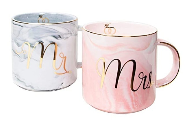 Vilight Home Mr and Mrs Marble Coffee Cups Set 1