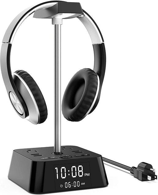 KDrive Headphone Stand With Clock Display 1