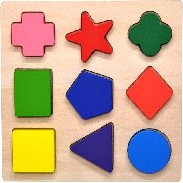 GYBBER&MUMU Wooden Preschool Colorful Shape Puzzles 1