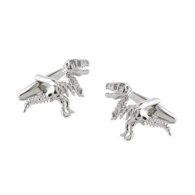 Tie Bar  Dinosaur Dig Silver Cufflinks 1