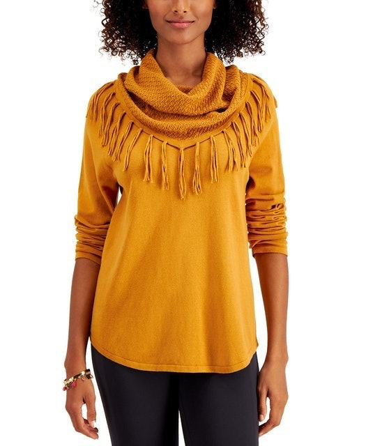 Style & Co. Fringe Cowl-Neck Sweater 1