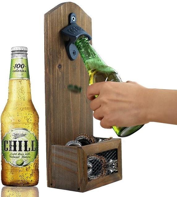 ZGZD Vintage Wall Mounted Wooden Bottle Opener 1