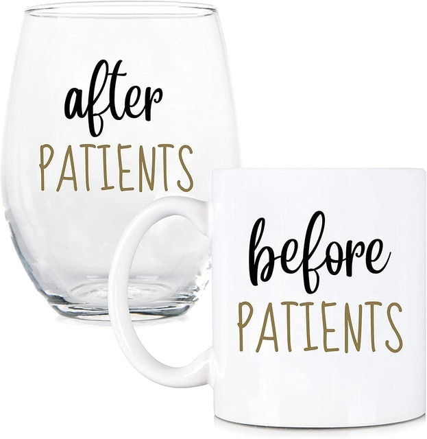 Funny Mugs, LOL  Before Patients, After Patients Coffee Mug and Wine Glass Set 1
