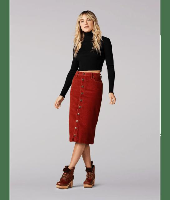 Lee Women's Vintage Modern High Rise Midi Skirt 1