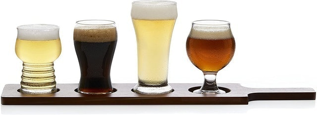 Libbey Beer Tasting Glasses With Wood Carrier 1