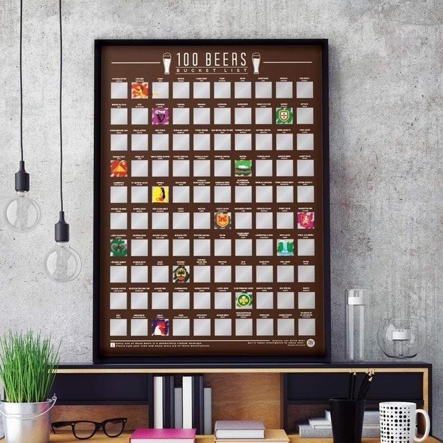 Gift Republic 100 Beers Bucket List Scratch Poster 1